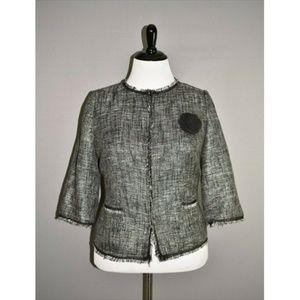 LANE BRYANT Metallic Tweed Fringe Jacket
